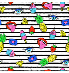 seamless pattern with trendy cartoon patches vector image