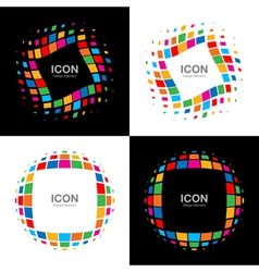 Set of abstract bright rainbow halftone logo vector