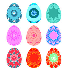 Set of bright colorful eggs decorated with vector