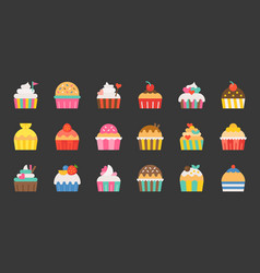 Set of fancy cup cake flat design icon vector