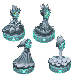 Set of four statues symbolizing the element of vector