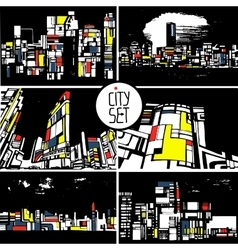 set of stylized cityscapes architecture vector image