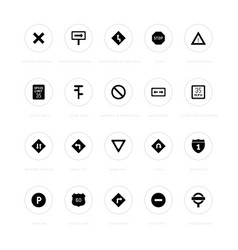 Set simple icons road sign vector