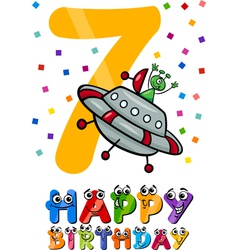 seventh birthday cartoon design vector image
