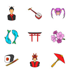 shanghai icons set cartoon style vector image