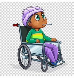 sick boy on wheelchair vector image