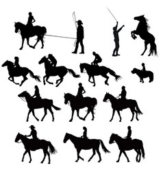 silhouettes of racehorses in training vector image