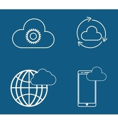 Smartphone sphere gear cloud computing vector