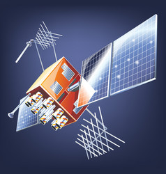 Space satellite orbiting earth vector