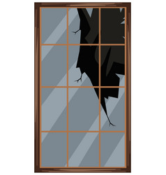 square window with broken glass vector image