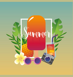 Summer season vacation with tropical trees and vector
