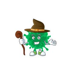 Sweet and tricky witch coronavirus pneumonia vector