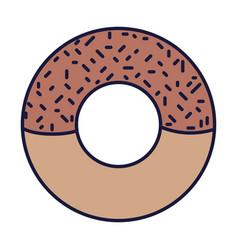 sweet donut dessert food cartoon icon style design vector image
