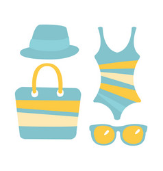 Swimsuit glasses bag sandal women beach vector