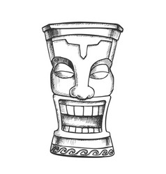 tiki idol carved wood funny totem vintage vector image