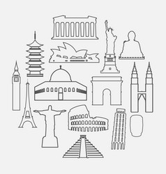 Travel landmarks icon set with thin line style vector