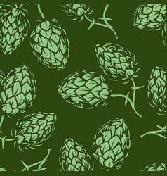 Vintage brewing green seamless pattern vector