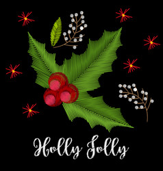 vintage embroidery christmas composition with vector image