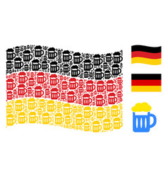 waving german flag collage of beer glass icons vector image