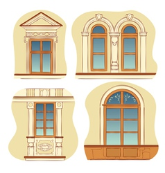 Windows of old city houses vector
