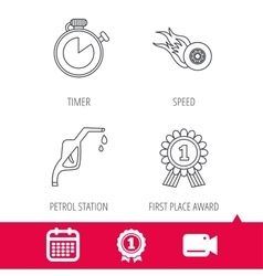 Winner award petrol station and speed icons vector