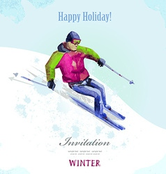 Winter sport watercolor skier vintage poster for vector image