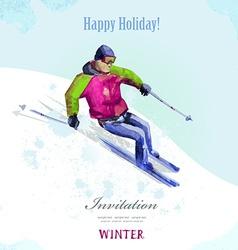 Winter sport watercolor skier vintage poster for vector