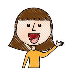 young girl waving avatar character vector image