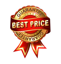 best choice gold label with ribbons vector image