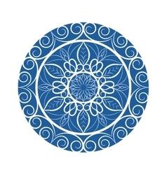 Blue Flower mandala over white vector image vector image