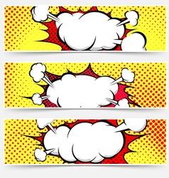 Comic book style pop-art header set vector image vector image