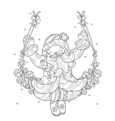 cute christmas Santa Claus doodle vector image