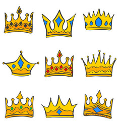 doodle of crown various style collection vector image vector image