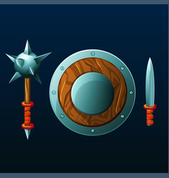 set of items for game shield mace and knife vector image vector image