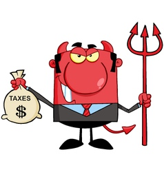 Devil With A Trident And Holding Taxes Bag vector image vector image