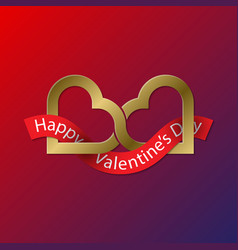 happy valentines day golden symbol of two vector image