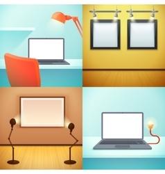 Light workplace mockups design concept vector