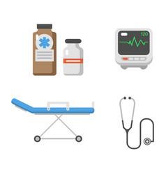 medical icons set care ambulance hospital vector image