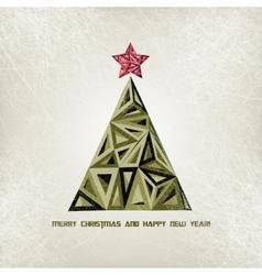Merry Christmas card with grunge christmas tree vector image