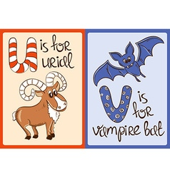 Children Alphabet with Funny Animals Urial and vector image vector image