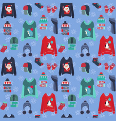 christmas background with cute ugly sweaters vector image
