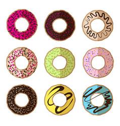 Donut minimalistic flat set vector