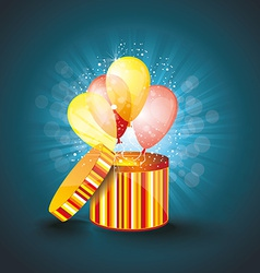 Open gift box with ballons and magic light vector image vector image