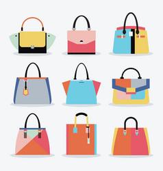 retro colorful women handbags and purse set vector image vector image