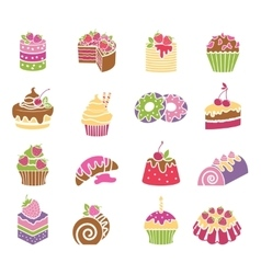 Sweets and desserts icons in spring colors vector image