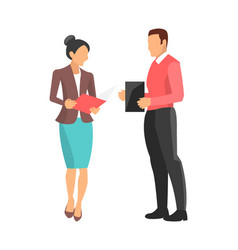 woman and man standing on vector image vector image