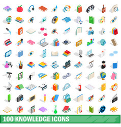 100 knowledge icons set isometric 3d style vector image