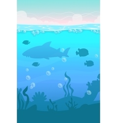 Cartoon vertical underwater landscape vector