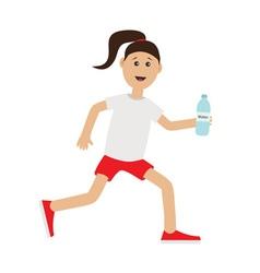 Funny cartoon running girl holding water bottle vector