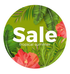 tropical summer sale promotional poster with vector image vector image
